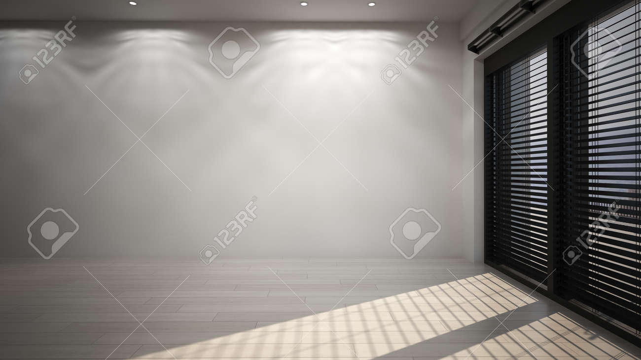 Empty room with ceiling lights and blinds on large view windows casting a shadow on the floor in a corner view. 3d render - 142466289