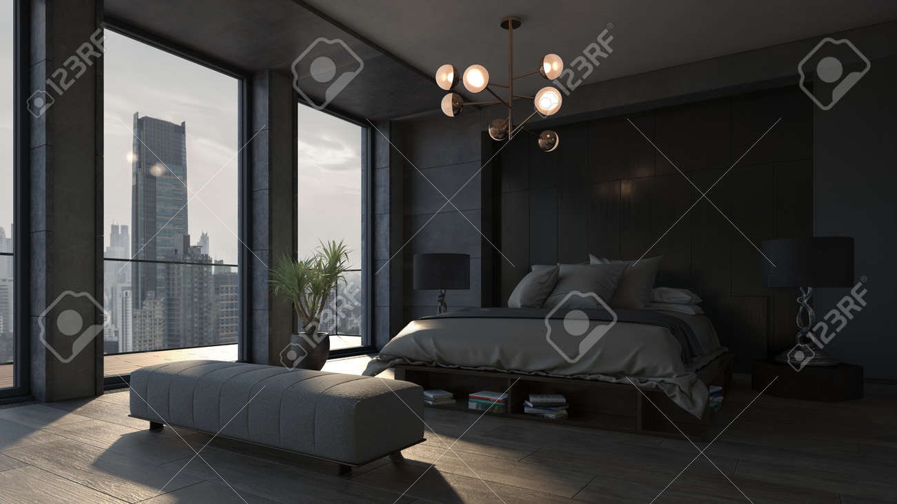Cozy Spacious Bedroom In Luxury Apartment With A View To Modern Stock Photo Picture And Royalty Free Image Image 142466291