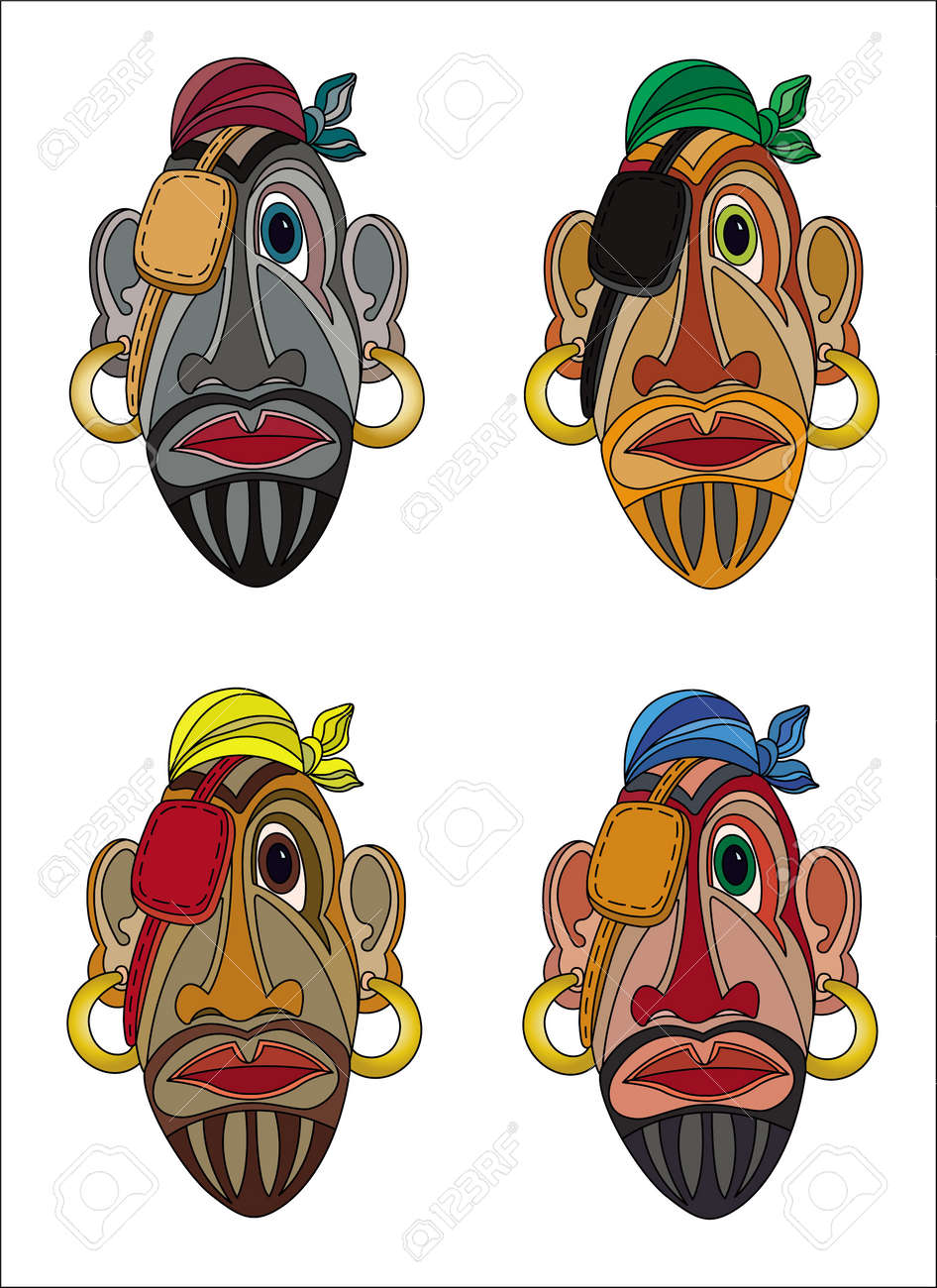 Uncategorized Pirate Faces pirate faces cartoon color mask isolated on white royalty free stock vector 57860152