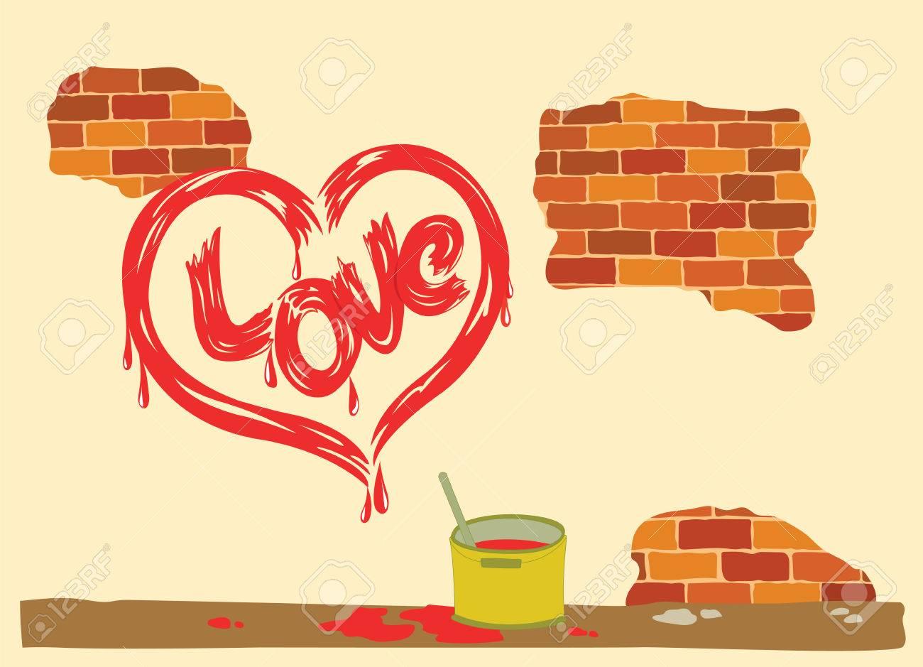 Heart Drawing Signed Love Peeling Brick Wall. Royalty Free Cliparts ...