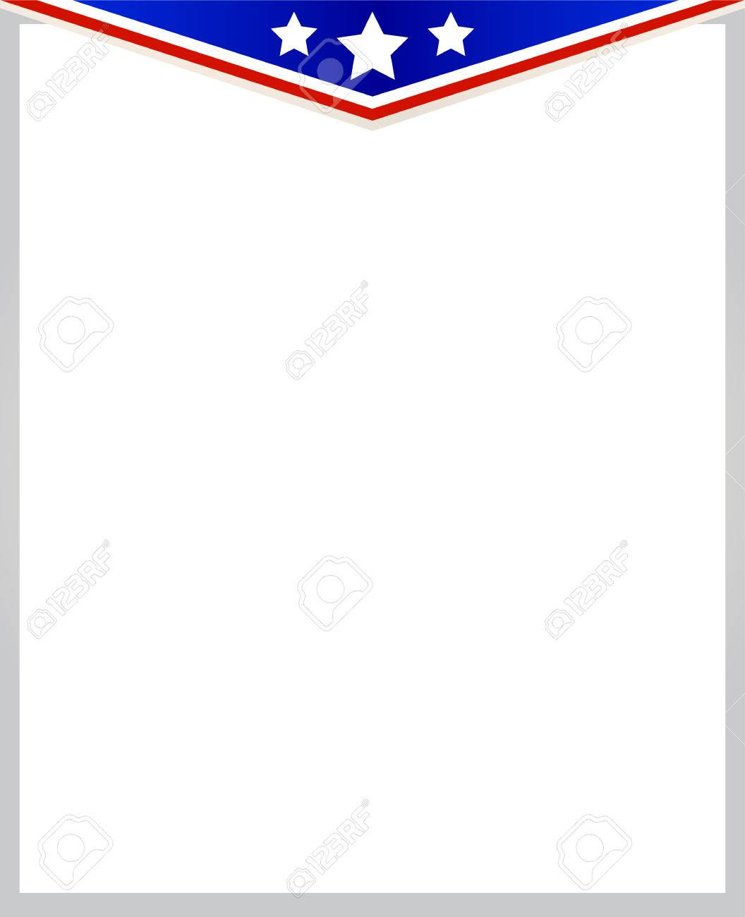 Abstract American Flag Frame On White Background With Copy Space ...