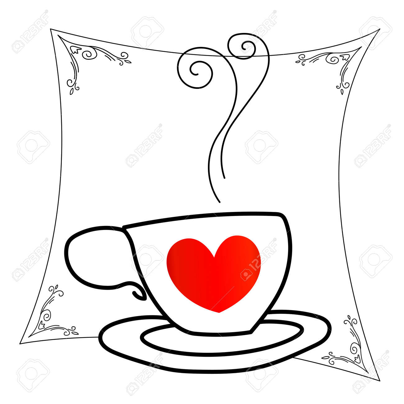 Coffee Cup With Red Heart Outline Drawing Stock Vector
