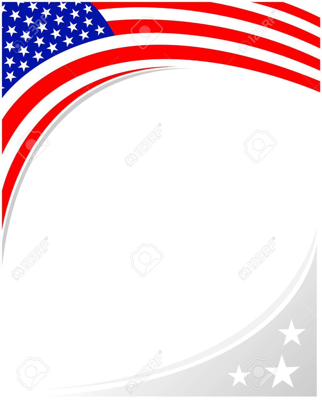 American abstract flag corner banner border with an empty space for text. - 169054326