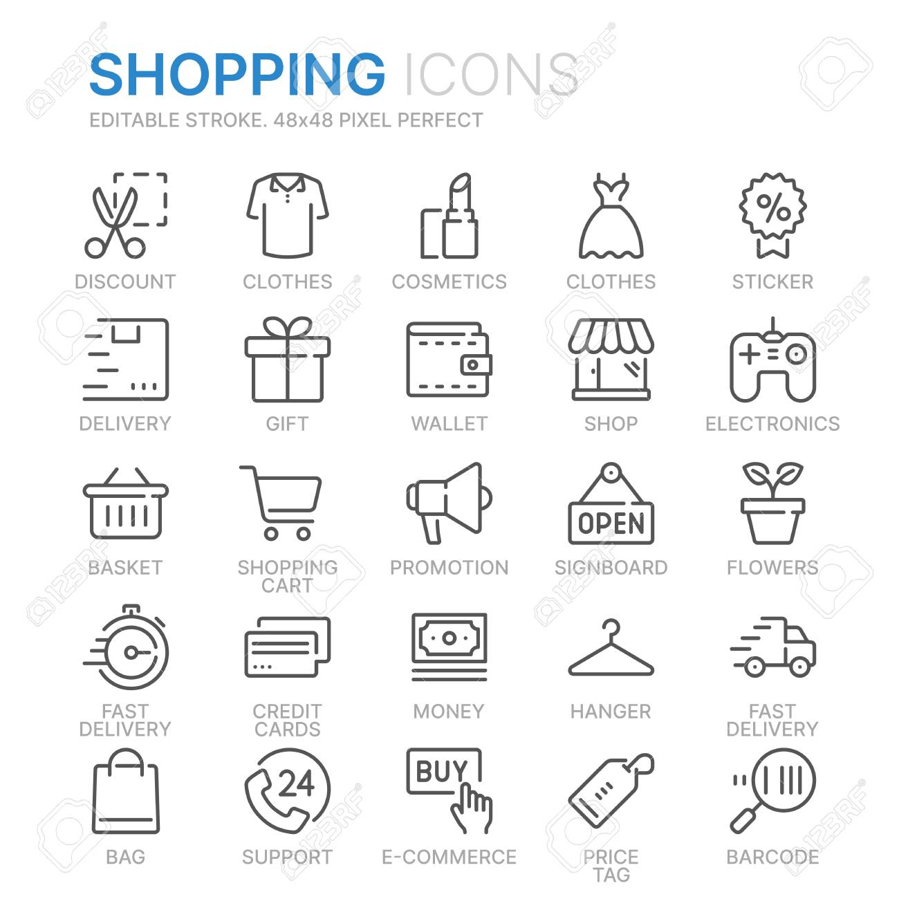 Collection of shopping related line icons. - 124681949