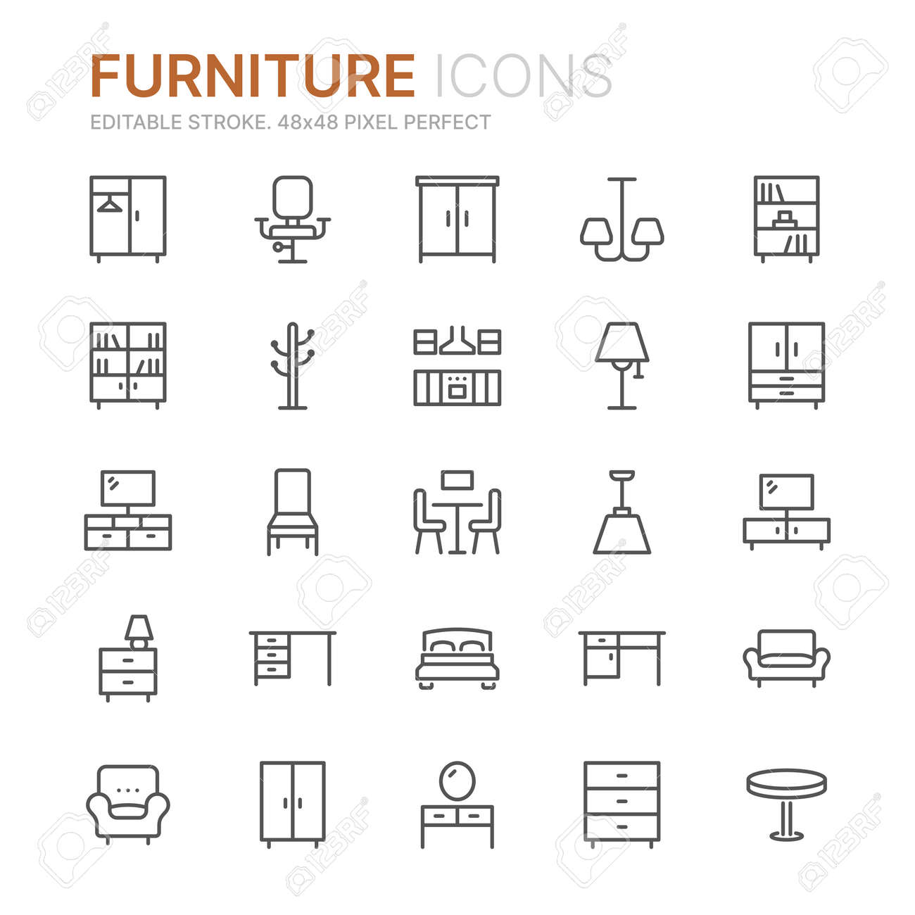 Collection of furniture line icons. 48x48 Pixel Perfect. Editable stroke - 124897568