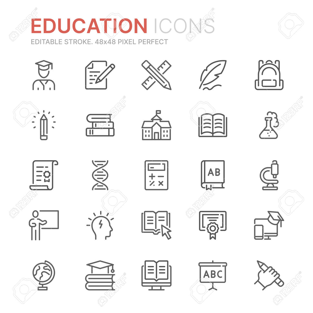 Collection of education related line icons. 48x48 Pixel Perfect. Editable stroke - 136665548