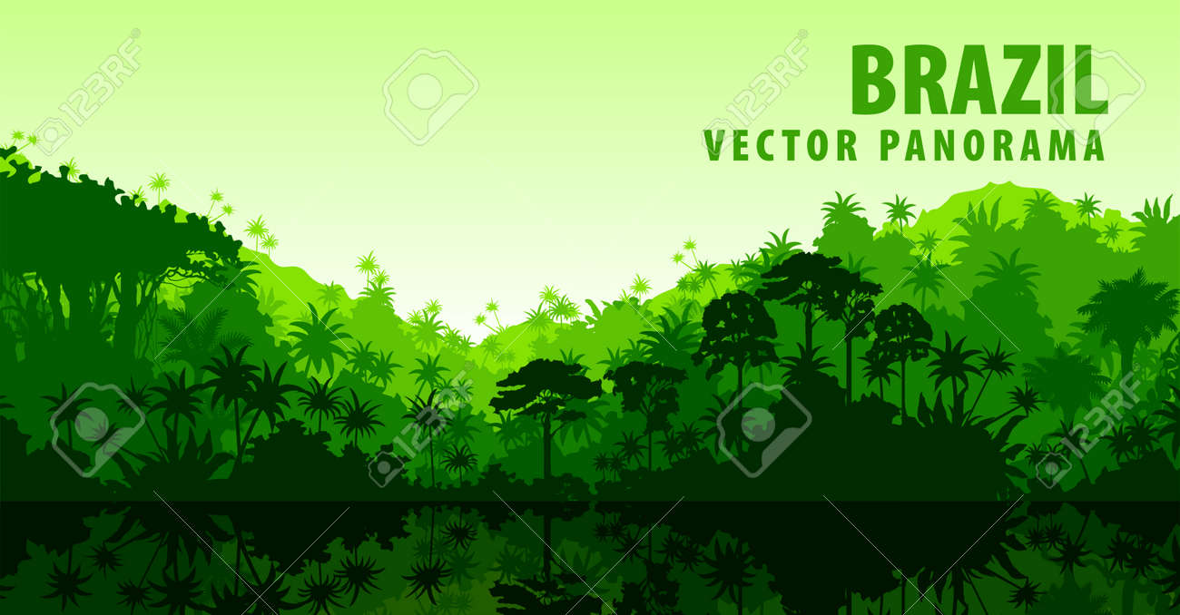 amazon rainforest trees clipart. vector panorama with amazon river in jungle rainforest brazil south america stock trees clipart