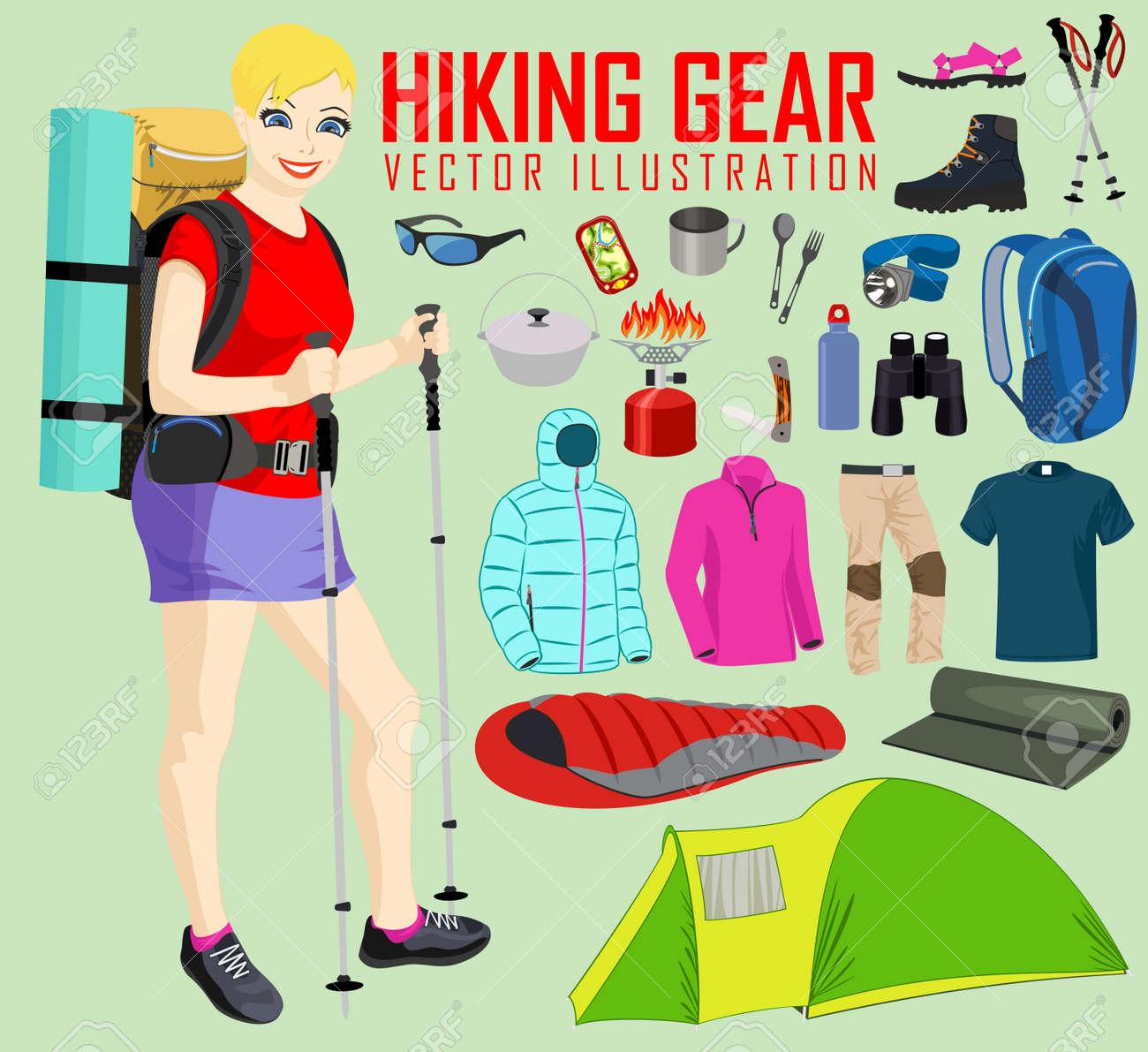 798401fa12ef4 Banque d'images - Randonnée femme et randonnée pédestre et matériel de  camping équipement