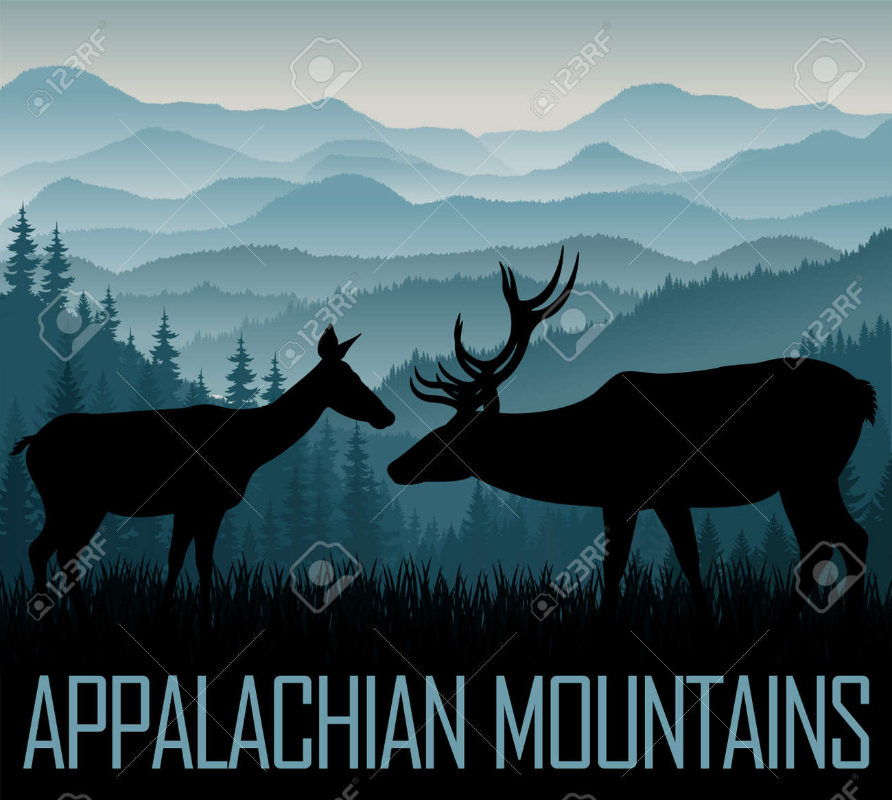 white Appalachian Mountains with couple of white tailed deers - 123734792