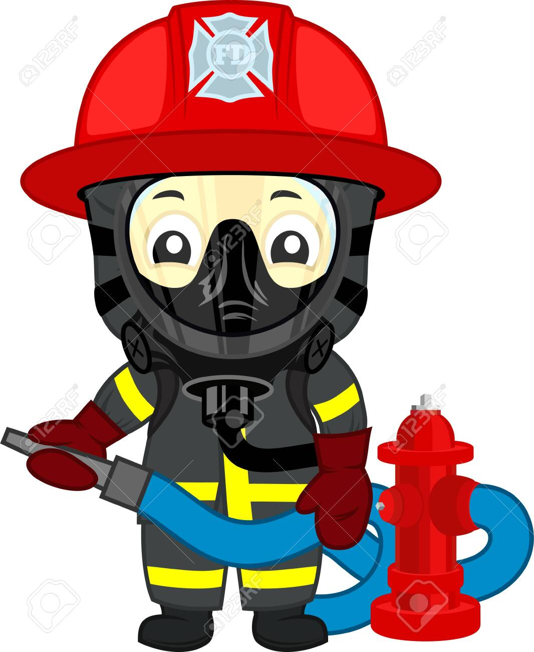 vector cute firefighter kid with hydrant - 144971164