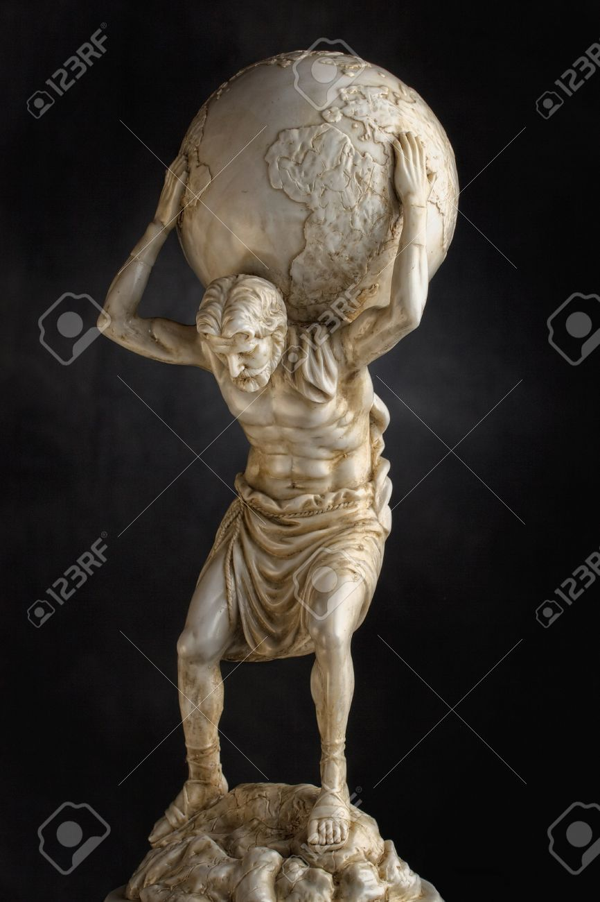 A Resin Statue Replica Of The Titan Atlas Of Greek Mythology