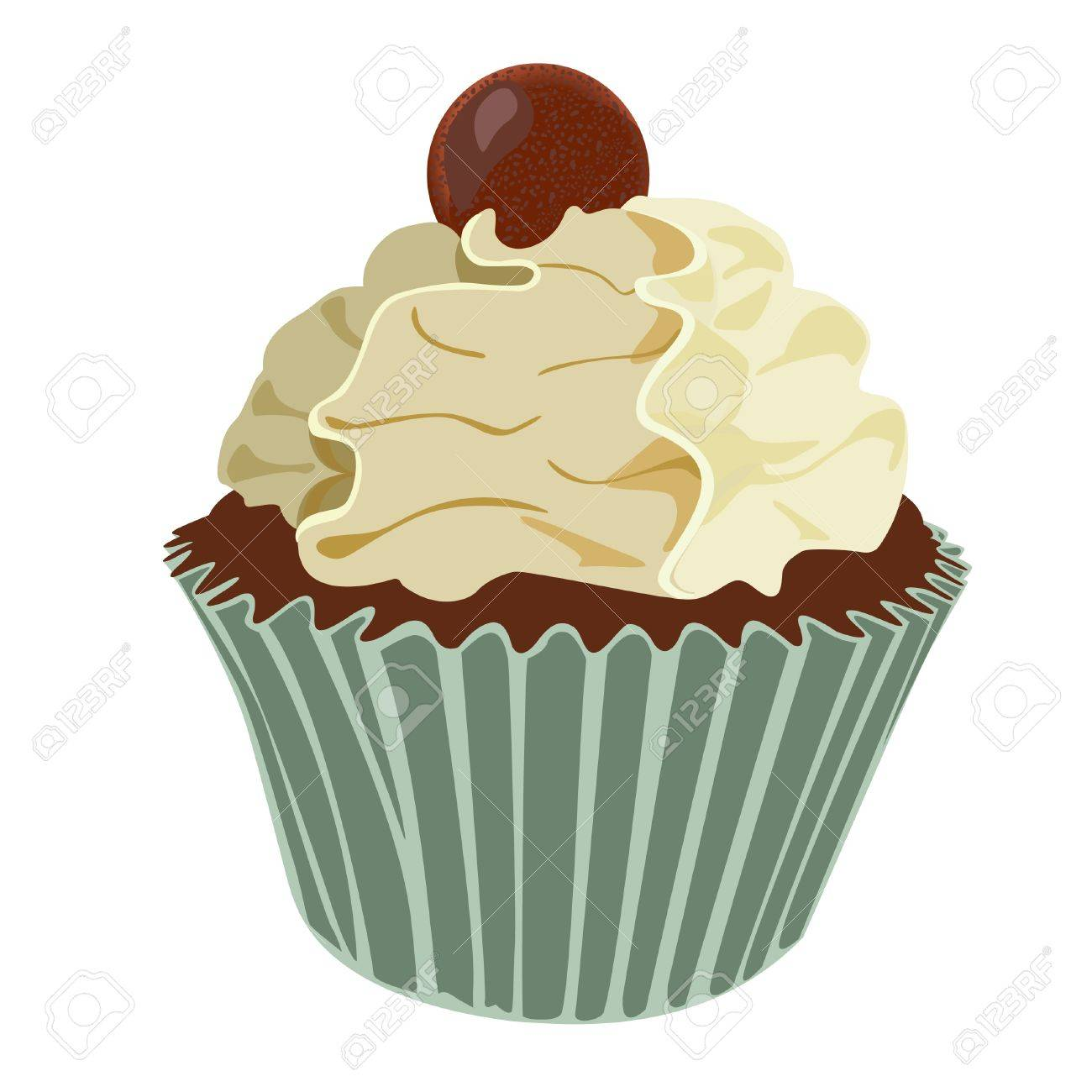 Cream swirl cupcake Stock Vector - 19547675