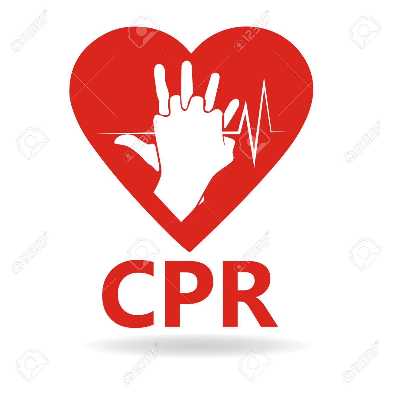 CPR logo. Medical resuscitation Vector clipart icon image isolated on white background design illustration - 136126188