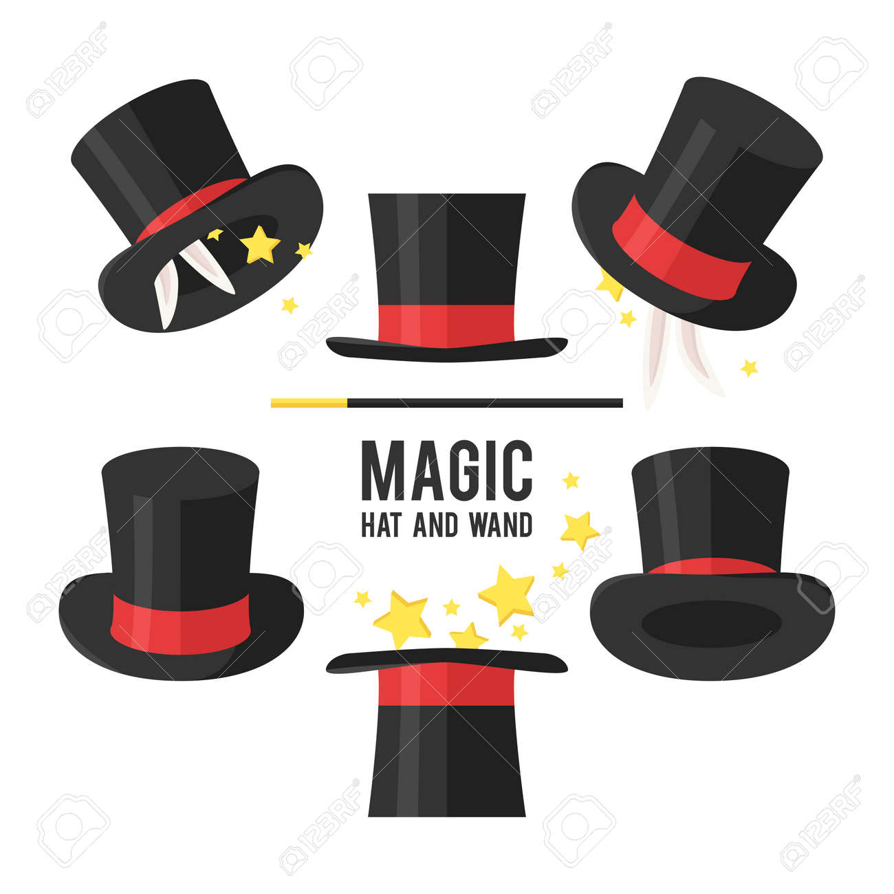 bf93bbf63a7 Set Sombrero mágico. Sombrero de mago sobre un fondo blanco.