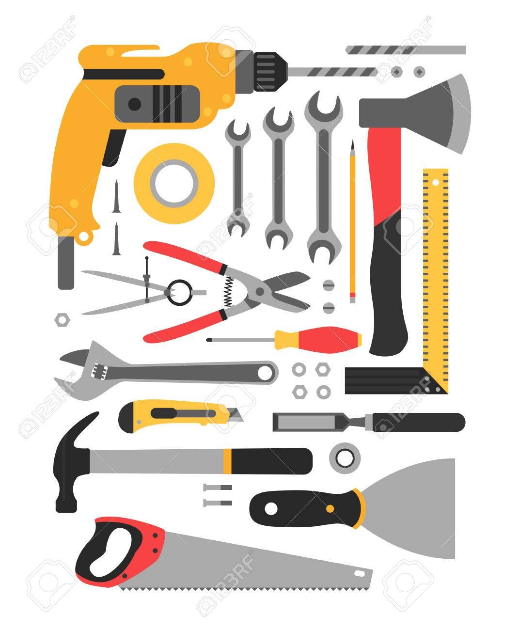 Große Reihe Von Bau-Tools. Set Ordentlich Gestapelt Bau-Tools ...