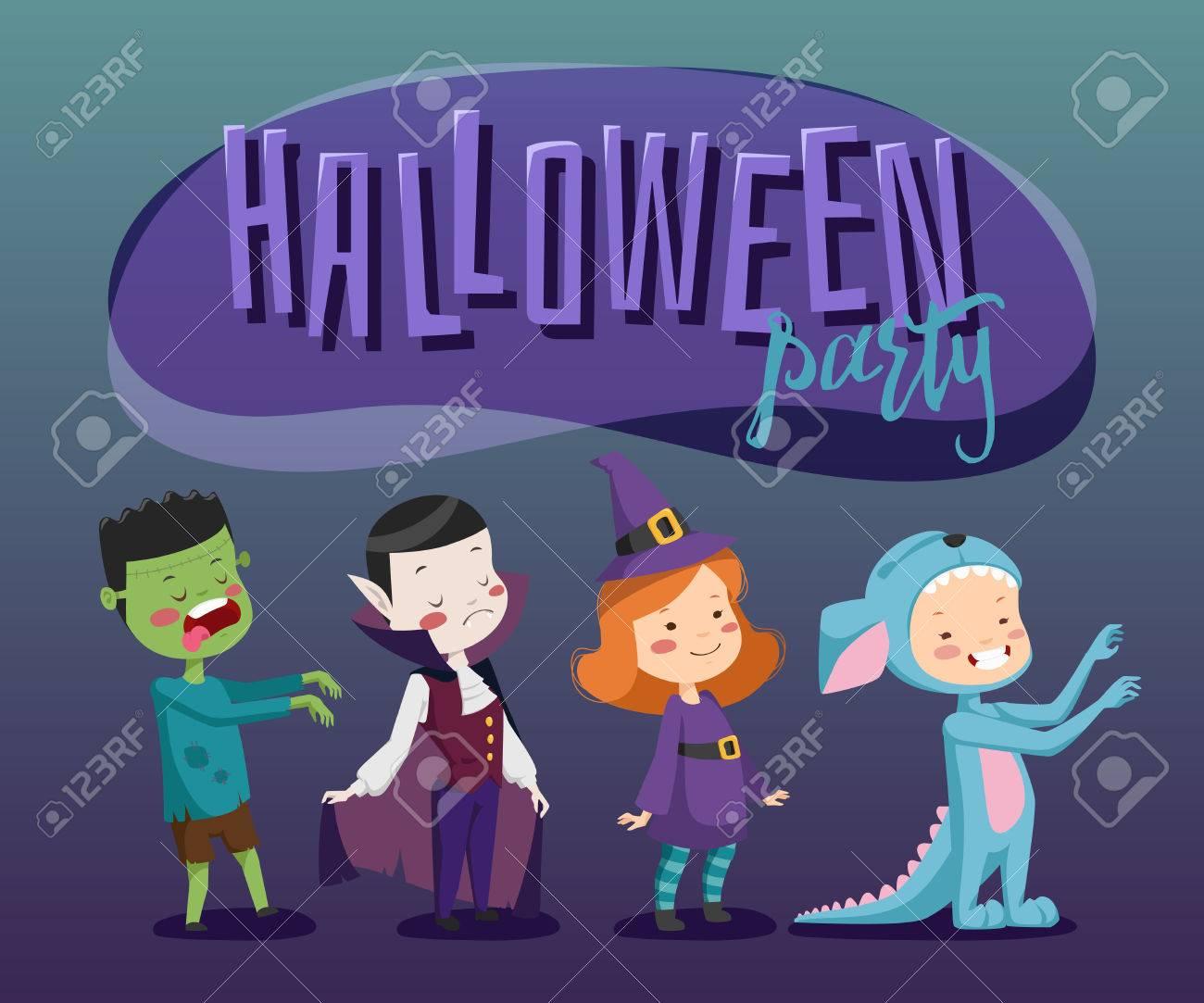 Cartel Para La Fiesta De Disfraces. Halloween Para Los Niños ...