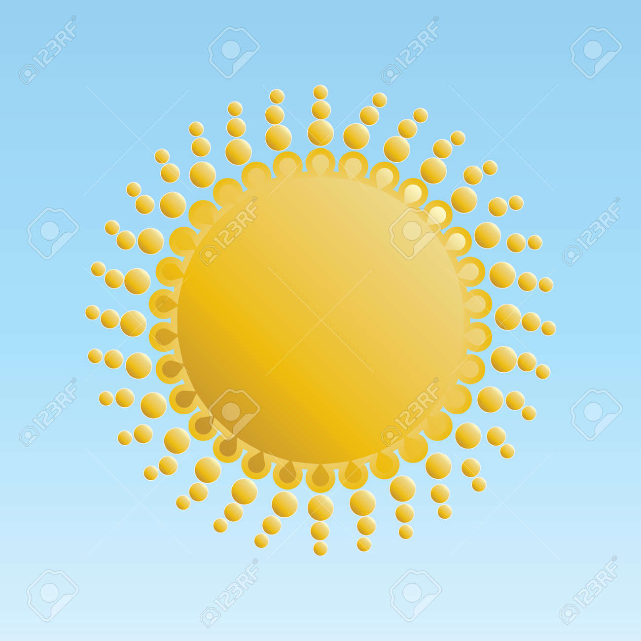 shiny sun isolated on blue Stock Vector - 14036935