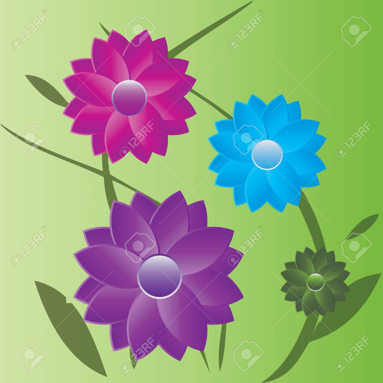 Summer flowers with leaves isolated on green background Stock Vector - 14940065
