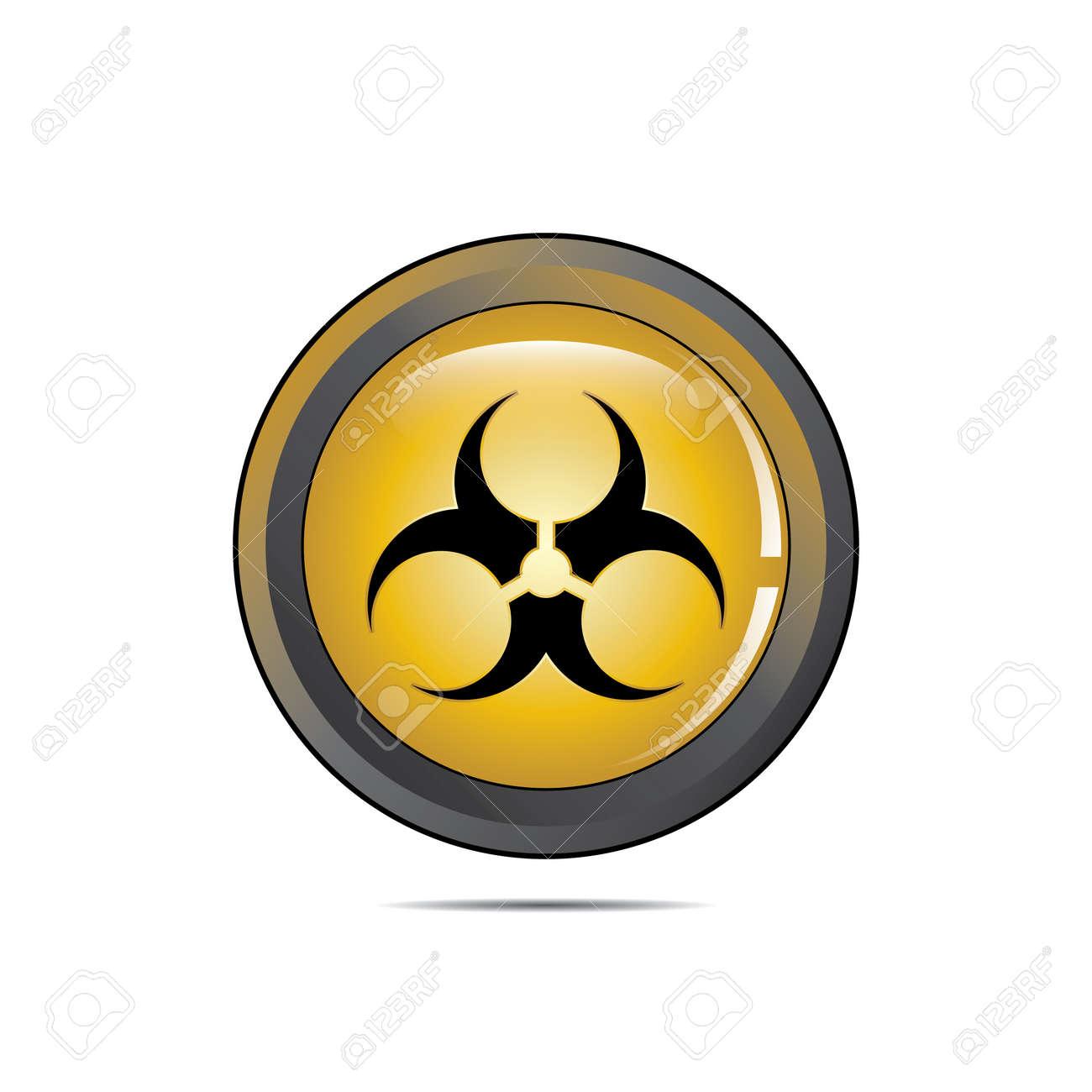 Vector - Radioactive Danger Yellow Button  Caution Radiation Stock Vector - 15541476