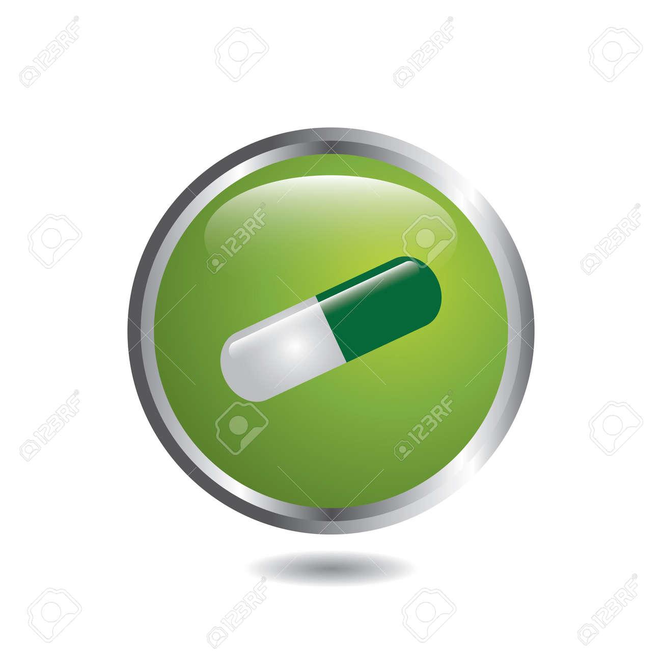 Medical button whit pill vector Stock Vector - 17531195