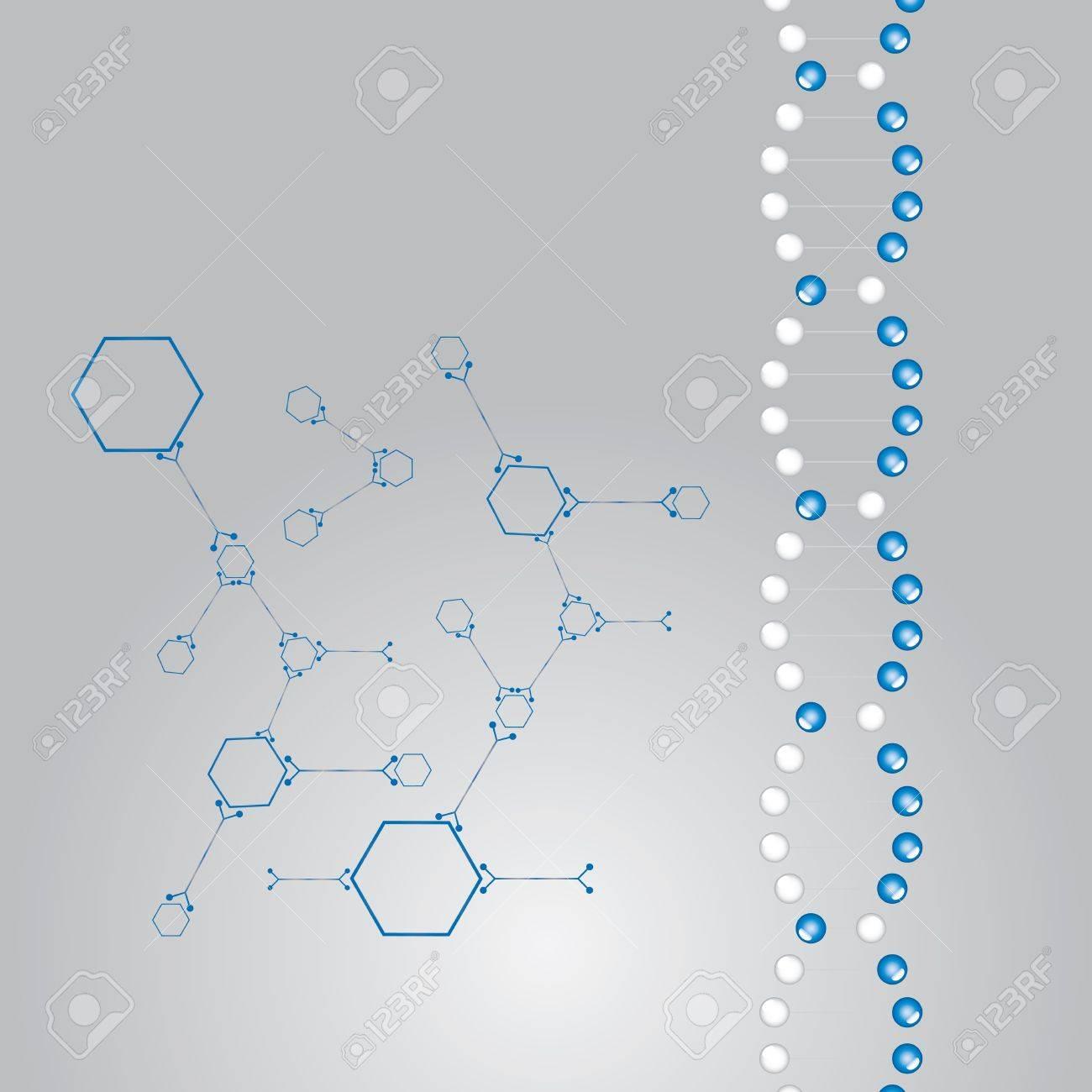 DNA strand illustration  whit atoms vector Stock Vector - 17855367
