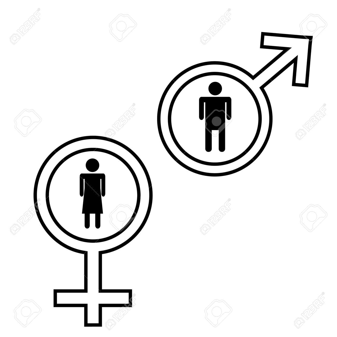 Male And Female Signs Isolated On White Background Royalty Free ...