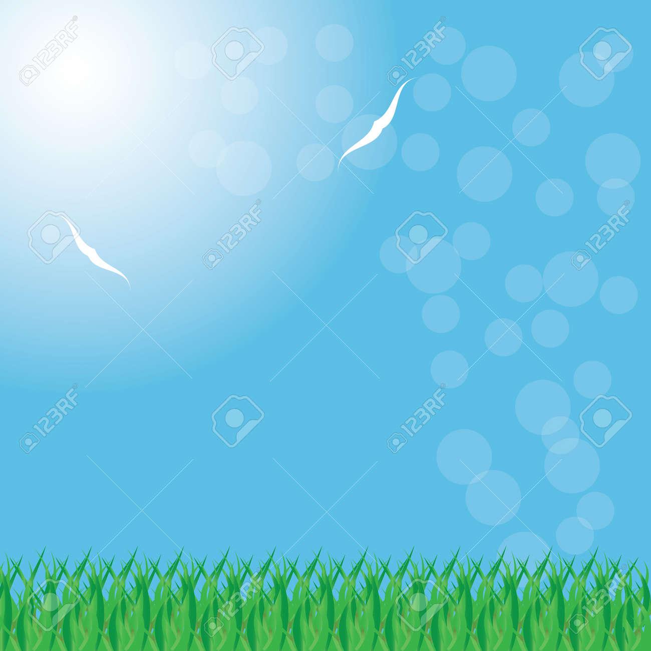 Summer background whit grass vector Stock Vector - 19290443