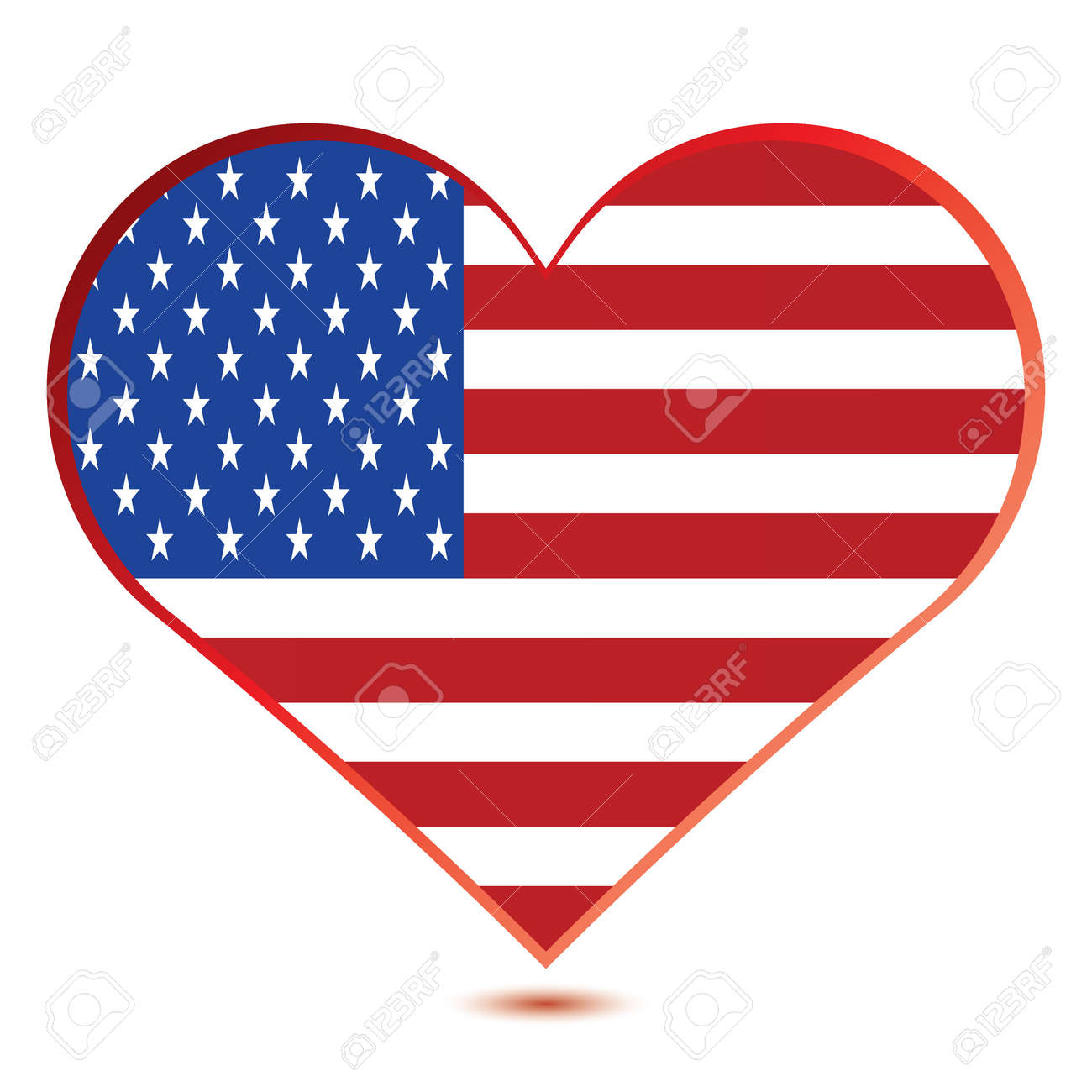 Glossy illustration showing a heart with the flag of the United States of America Stock Vector - 20458823