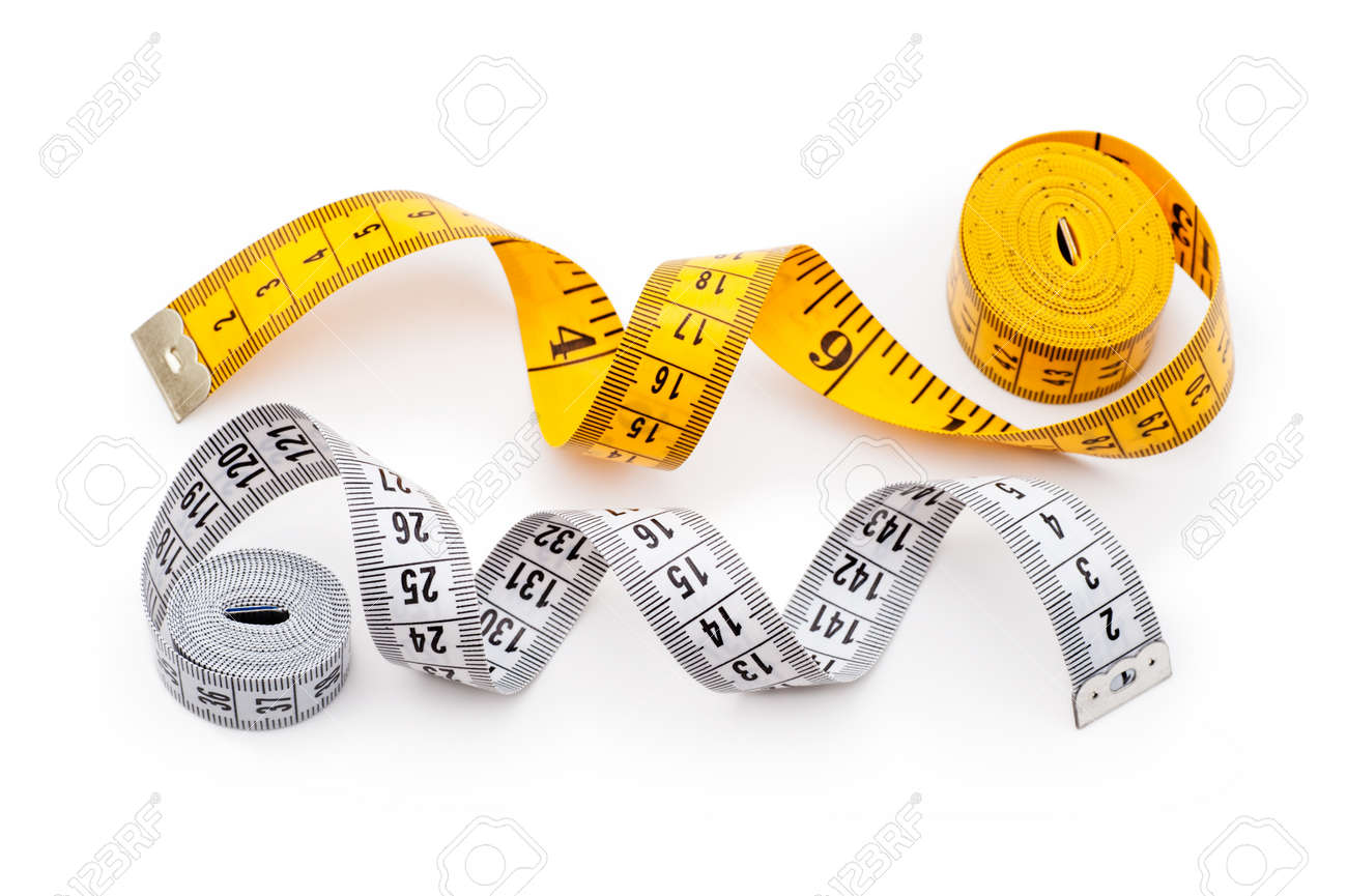 Yellow and white tailor meters isolated on white background Stock Photo - 13107300