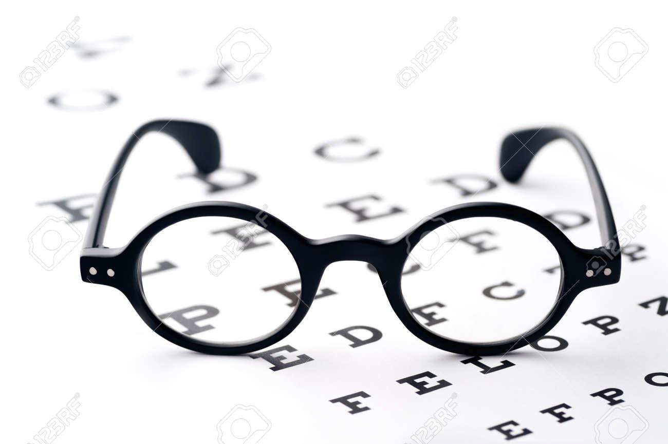 Old fashioned round black eyeglasses lying over the eye checking old fashioned round black eyeglasses lying over the eye checking chart stock photo geenschuldenfo Gallery