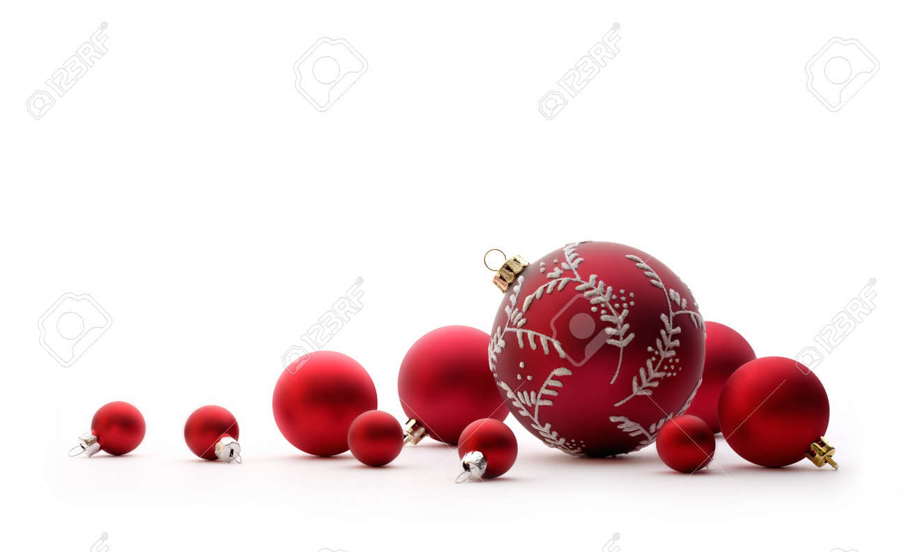 christmas decorations group of red christmas balls christmas tree decorations isolated on white