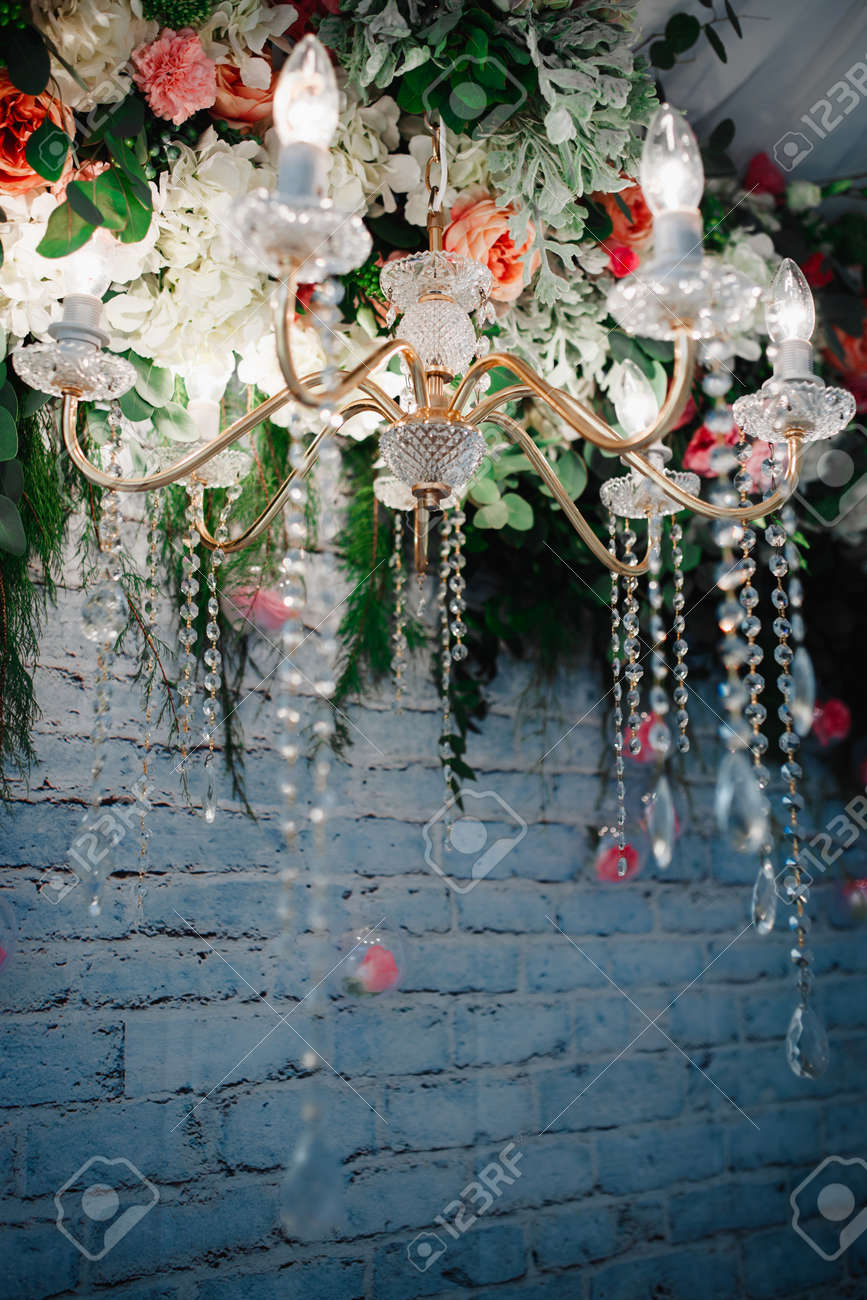 Stock Photo Vintage Crystal Chandelier With Flowers Wedding Decoration