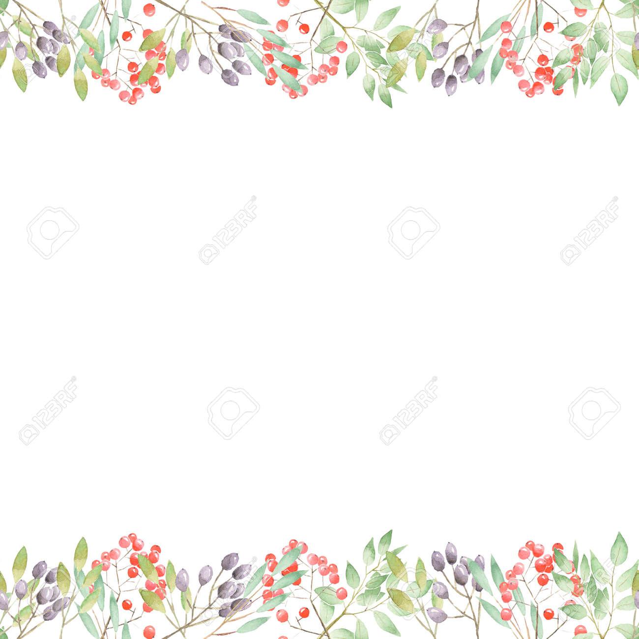 Blumenkunst Design Rahmen Aus Zweigen, Blättern, Roten Und Violetten ...