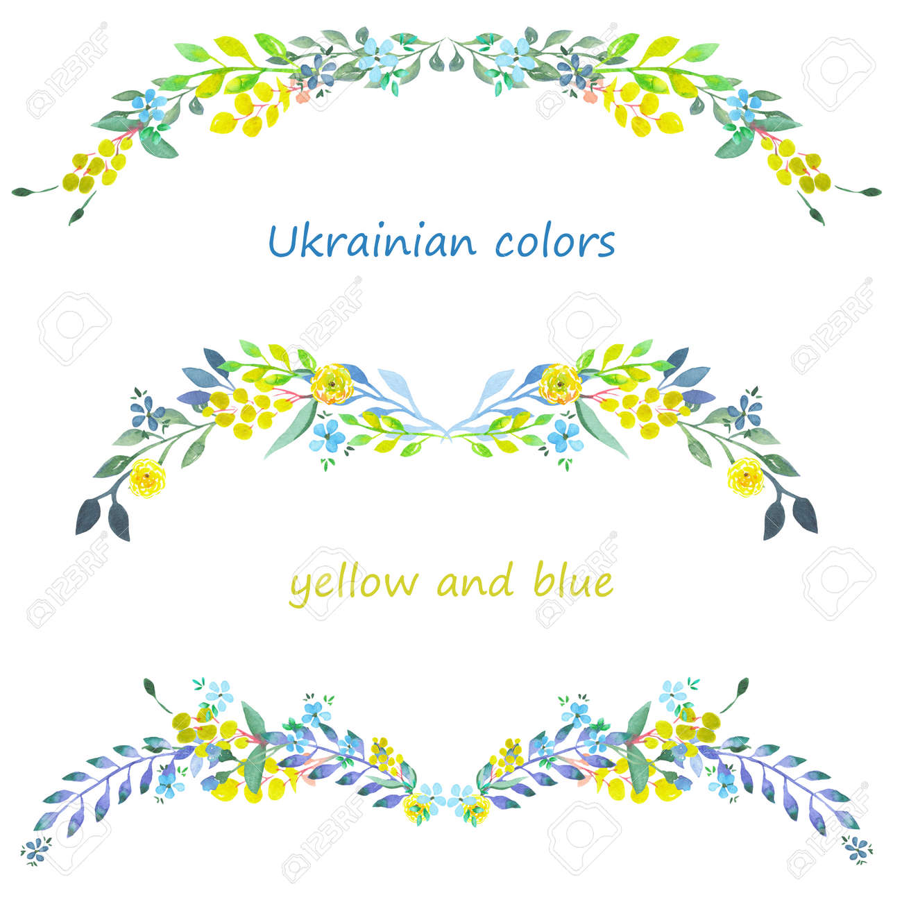 Frame Border Floral Decorative Ornament With Blue And Yellow