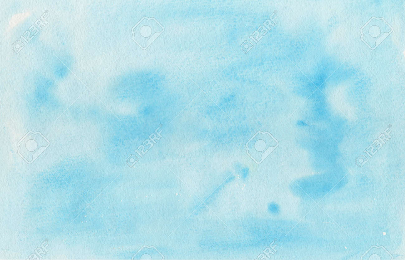Watercolor blue background, texture of watercolor paper