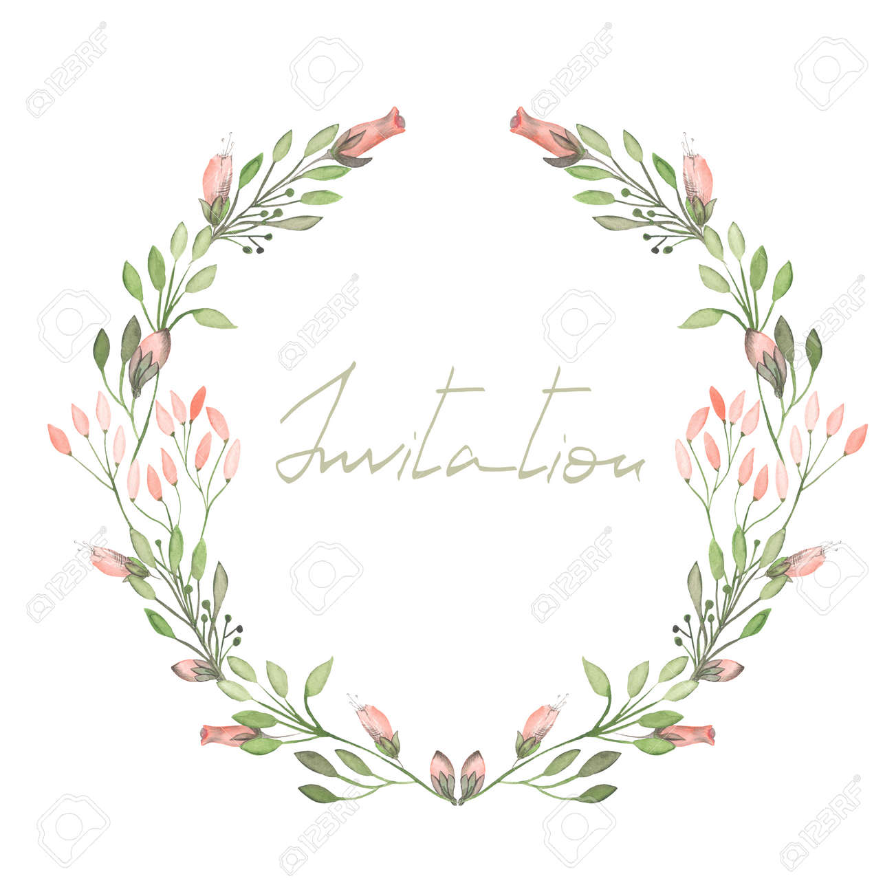 Floral design in circle stock vector image 75615991 - 47672615 Circle Frame Wreath Of Pink Flowers And Branches With Green Leaves Painted In Watercolor On