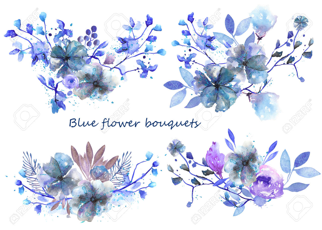 Set Of Bouquets With Blue And Purple Flowers And Leaves Painted