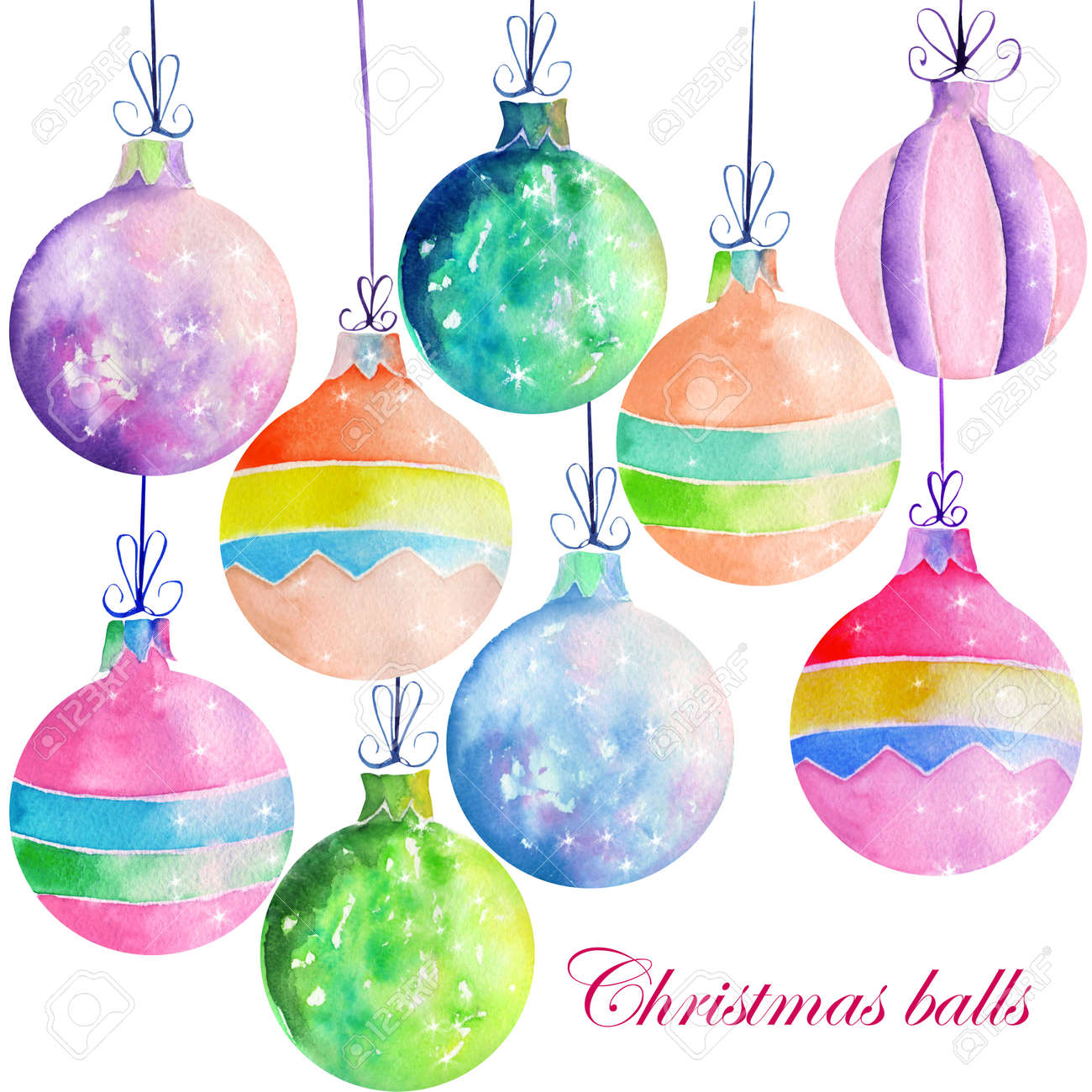 Collection Set Of Isolated Colored Christmas Decorations Balls