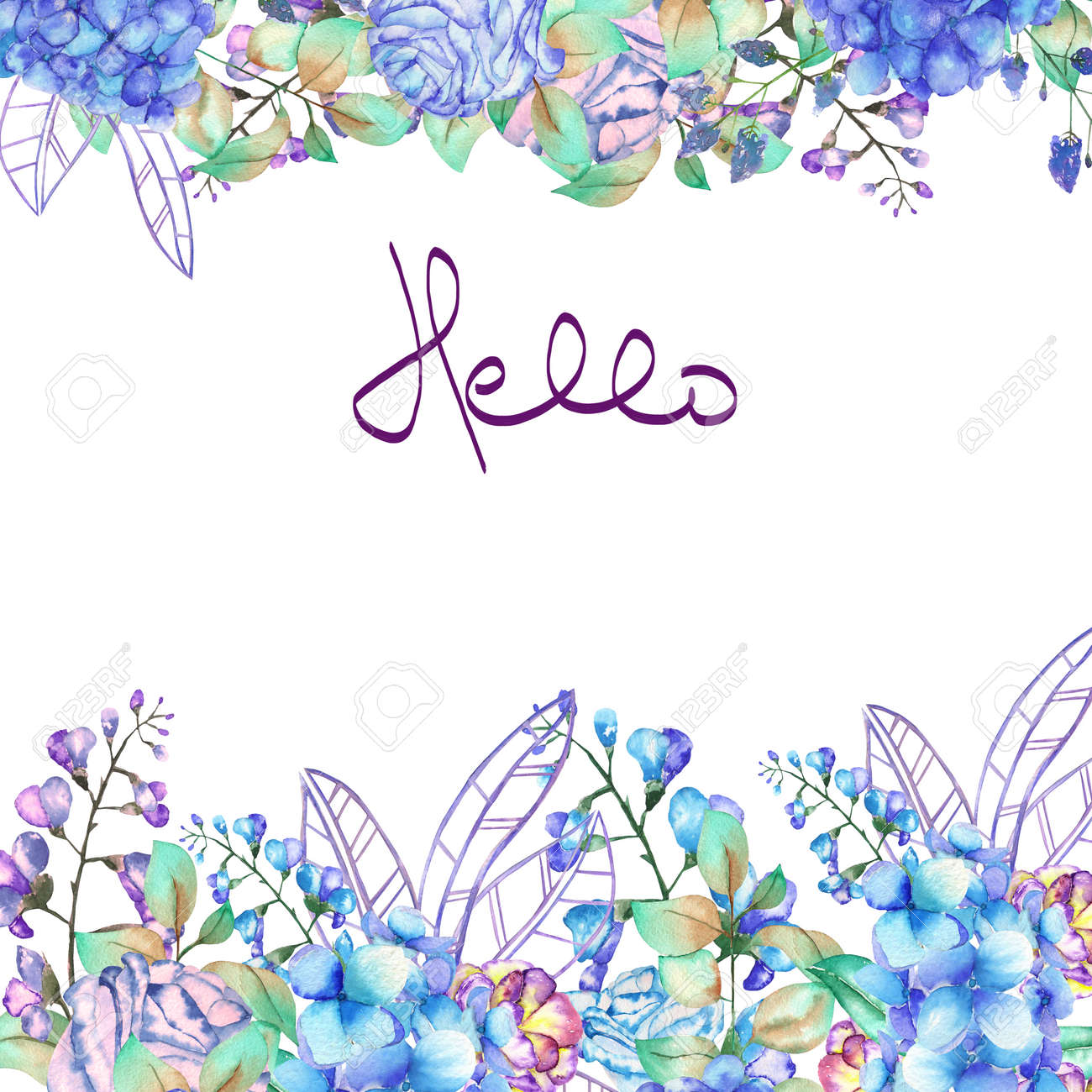Floral Frame Border Template For Postcard With Purple And Blue Hydrangea Flowers Bluebell