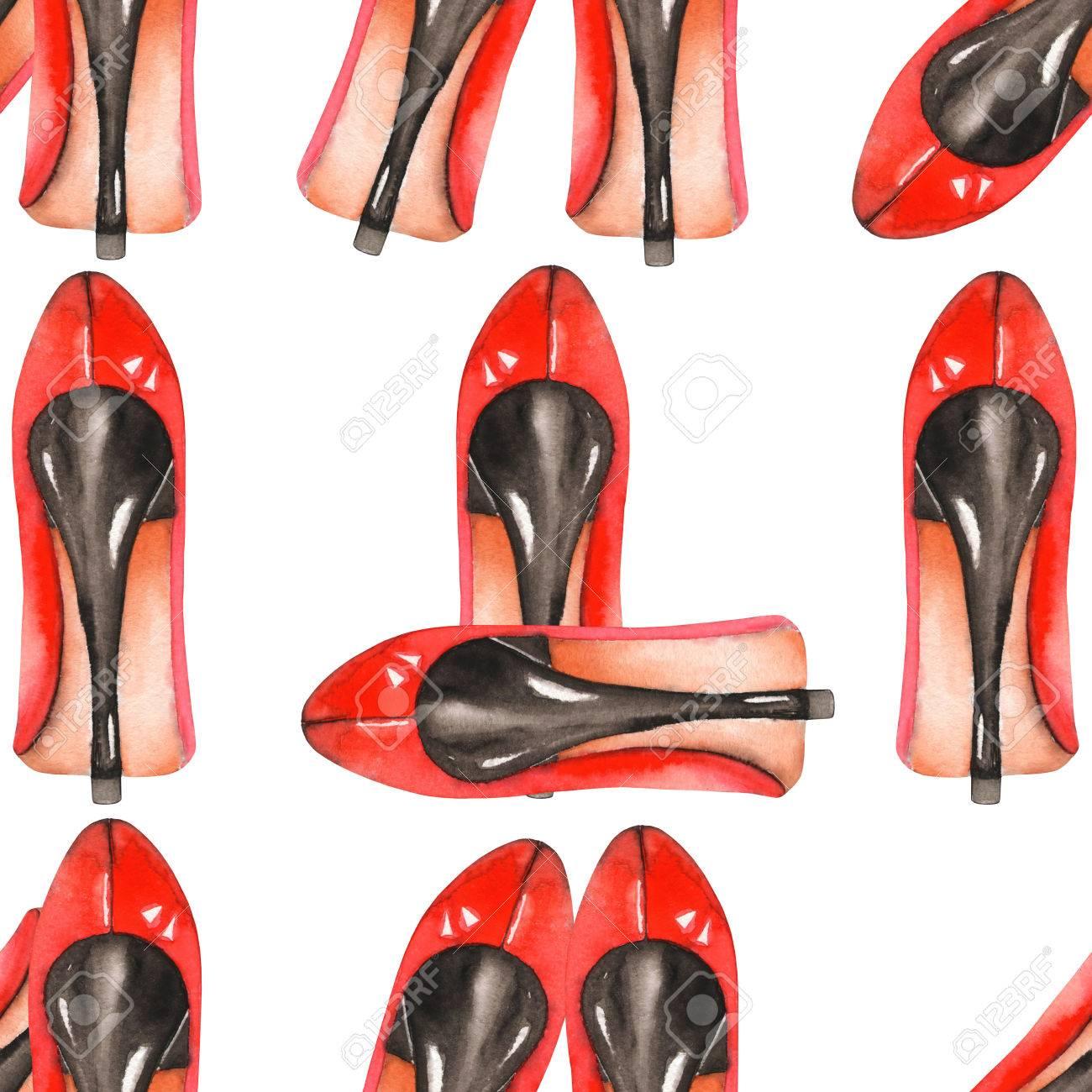 outlet store a84e7 50c56 Un modello senza soluzione di continuità con le scarpe rosse acquerello  disegnato a mano delle donne sui talloni. Dipinta su uno sfondo bianco.
