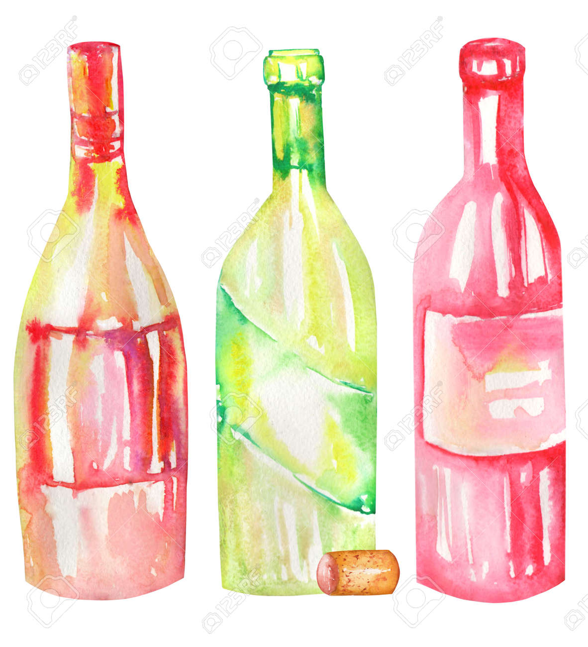 An Illustration Of The Isolated Watercolor Wine Bottles Painted Stock Photo Picture And Royalty Free Image 51042440
