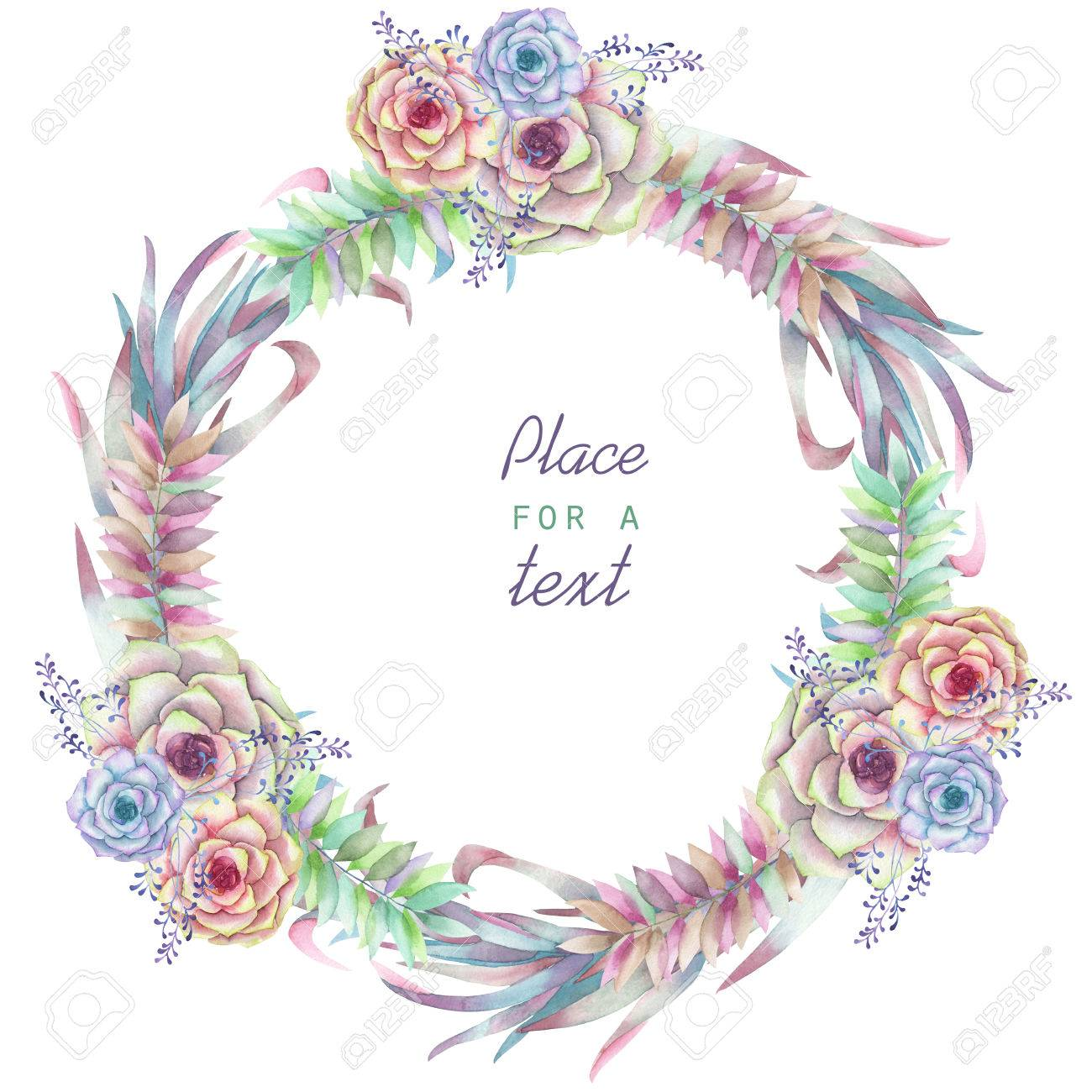 A Circle Frame Wreath Border For Text With The Watercolor Flowers And