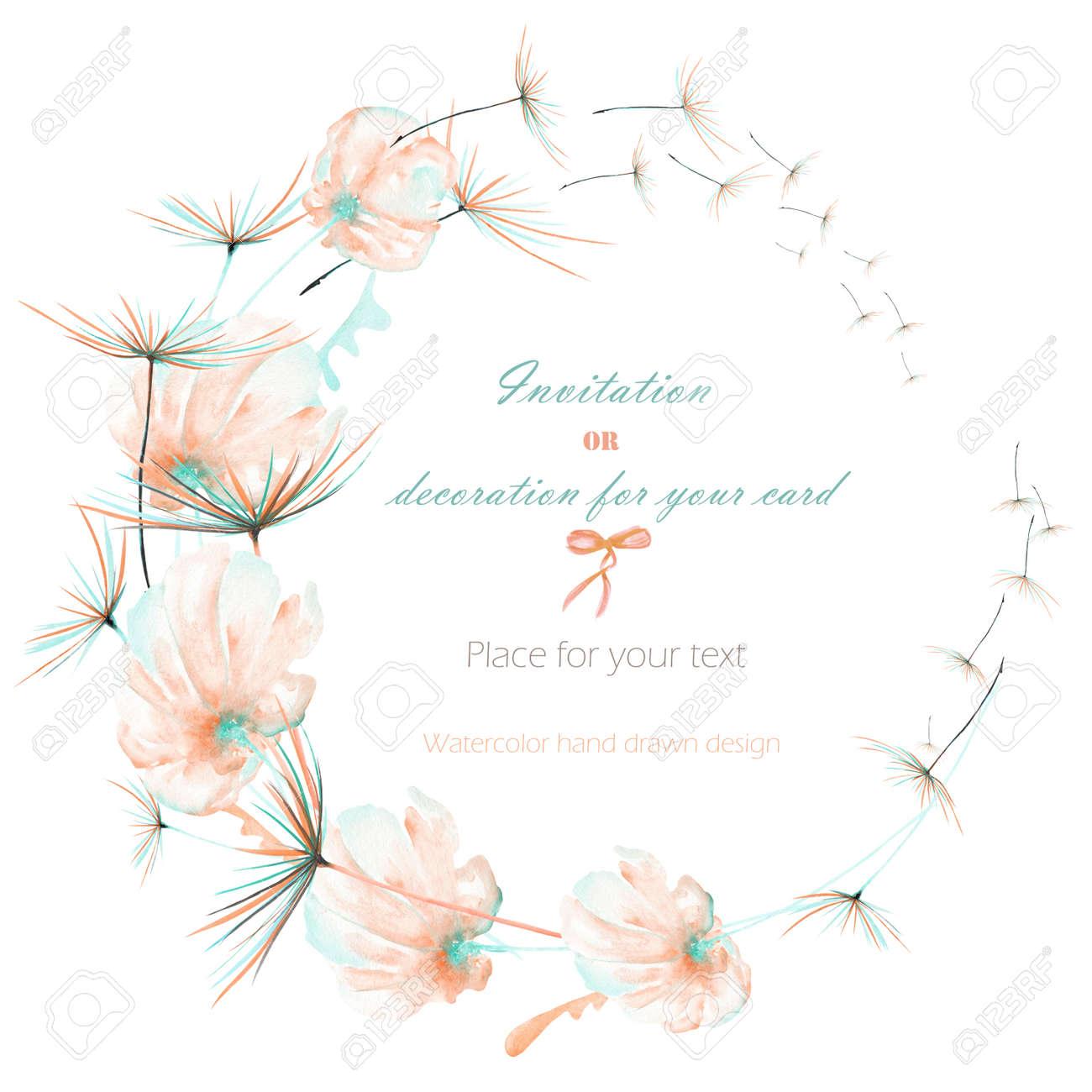 Kranz, Kreis-Rahmen Mit Dem Aquarell Rosa Und Minze Luft Blumen Und ...