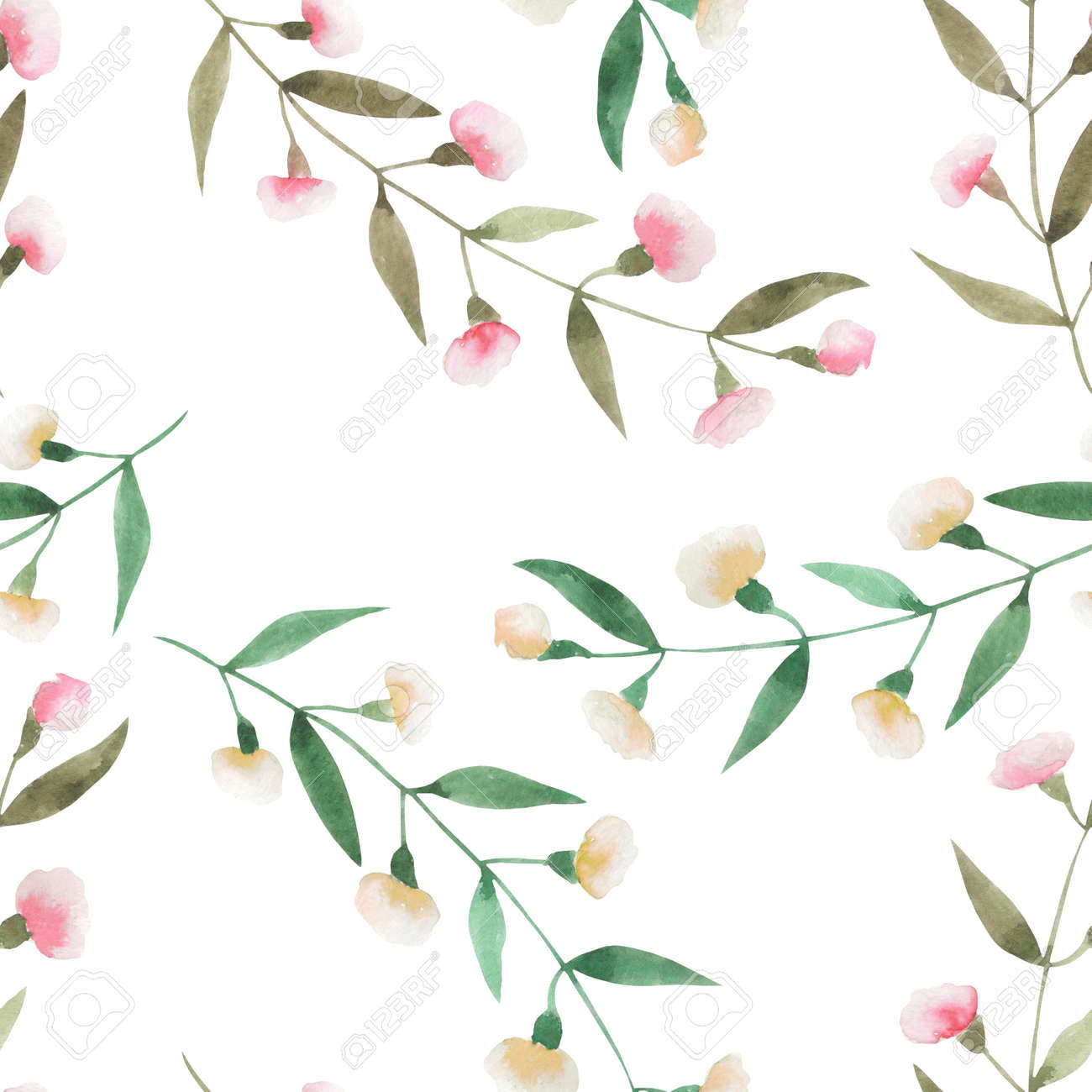 Seamless Floral Pattern With The Watercolor Simple Pink Abstract