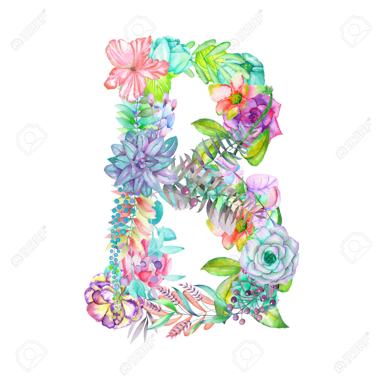 Capital Letter B Of Watercolor Flowers Isolated Hand Drawn On