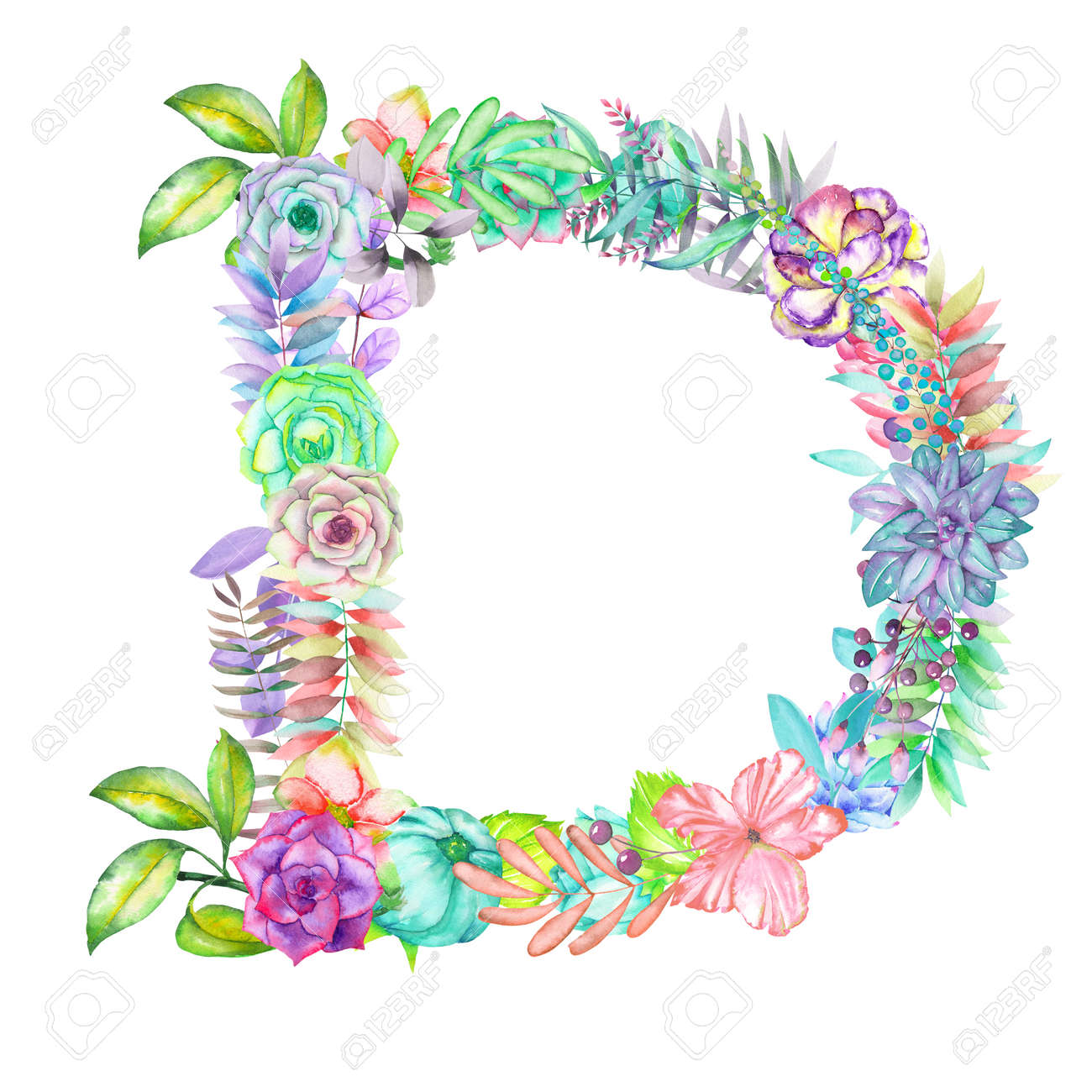 Capital Letter D Of Watercolor Flowers Isolated Hand Drawn On