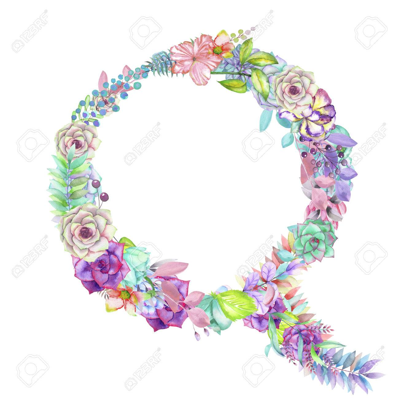 Capital Letter Q Of Watercolor Flowers Isolated Hand Drawn On