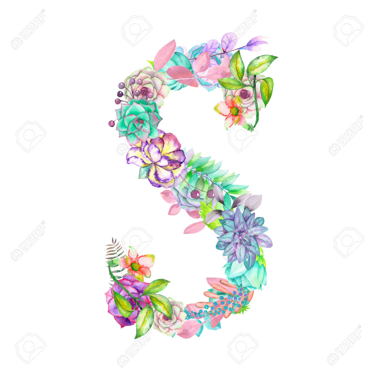 Capital Letter S Of Watercolor Flowers Isolated Hand Drawn On