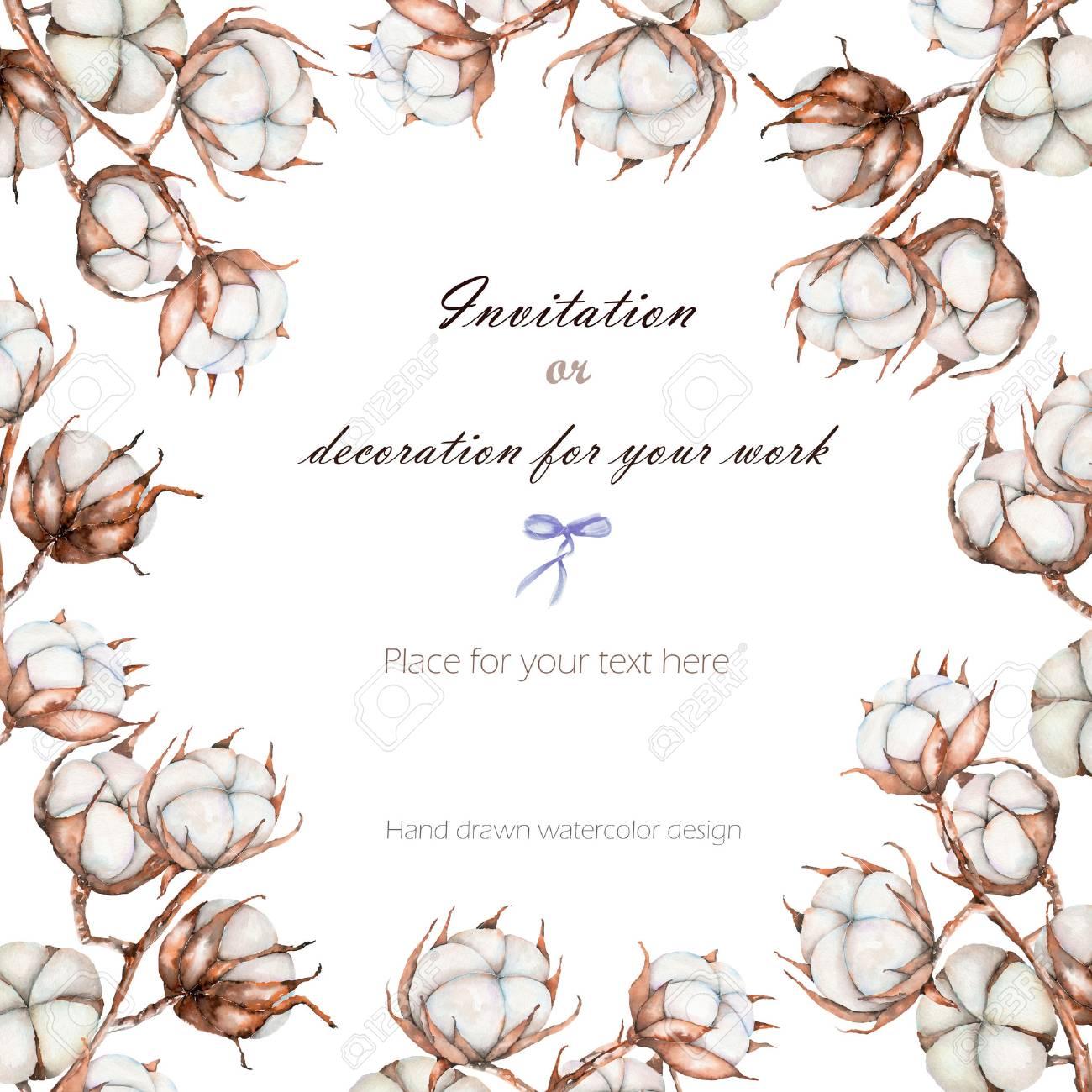 Branche Fleur De Coton background, template postcard with the cotton flowers branches,..