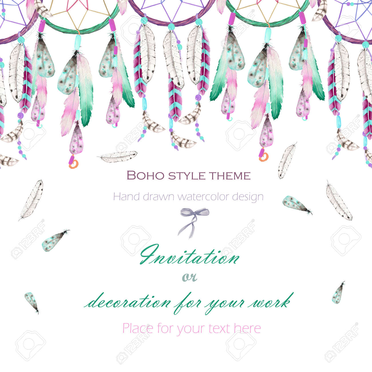 background template postcard with the watercolor dreamcatchers